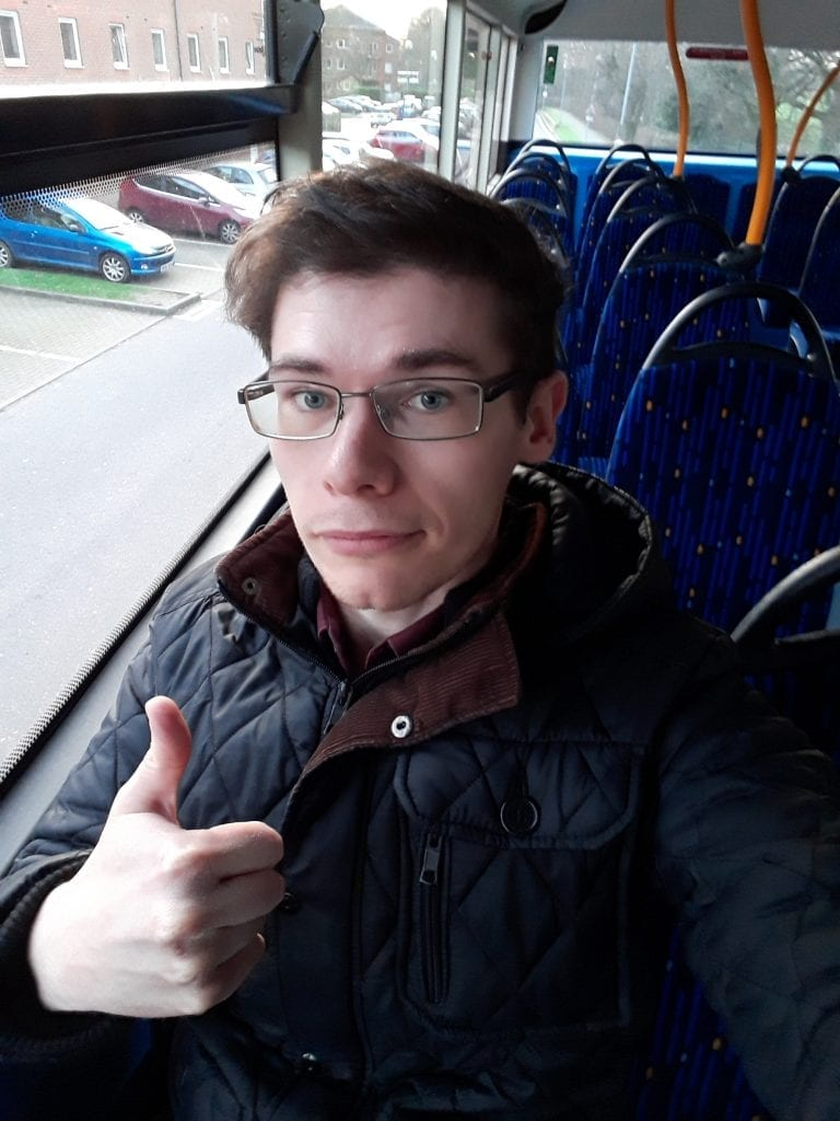 Our Sustainability Projects Officer enjoying the bus