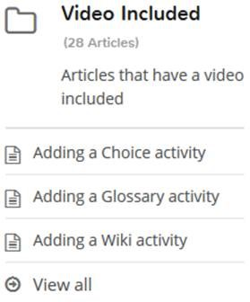 Moodle help videos category
