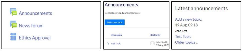 Screenshots of the Moodle Announcements forum icon, Announcements forum post and the Latest announcements Moodle block