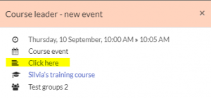 Example of event. Student View