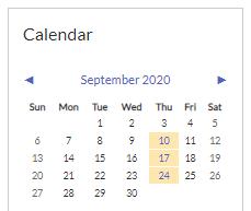 Image of the Moodle Calendar block